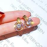 HUIQING Pendientes geométricos Redondos para Mujer ChicaExquisito Color Dorado Pequeño círculo Pendientes de Cristal Joyería de declaración