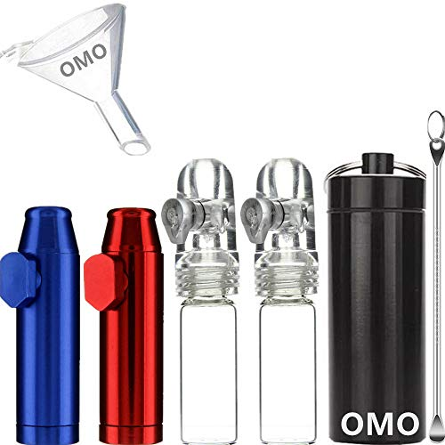 OMO Snuff Kit 2 Glass Snuff Bullet(White)2 Metal Snuff Bullet(Blue