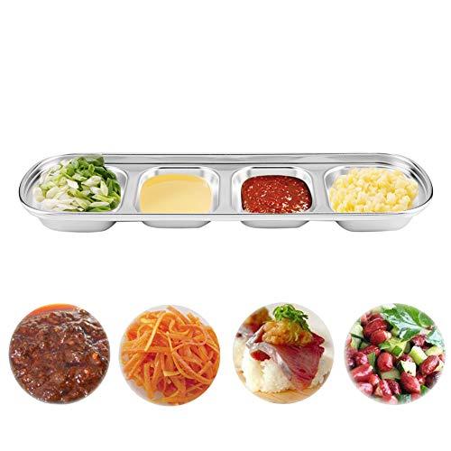 Saus Schotel Roestvrij Staal Soja Tomaat Saus Zout Azijn Suiker Specerijen Smaak Condiment Dip Bowls Koreaanse BBQ Keukenplaten (Pack van 3) Four section
