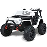 Uenjoy Deluxe Model 12V Large Kids Electric Police Ride on Car 2 Seats Battery Powered Motorized Truck, Baked Paint, MP4 Function, EVA Wheels, Leather Seater, Remote Control, Music, Bluetooth