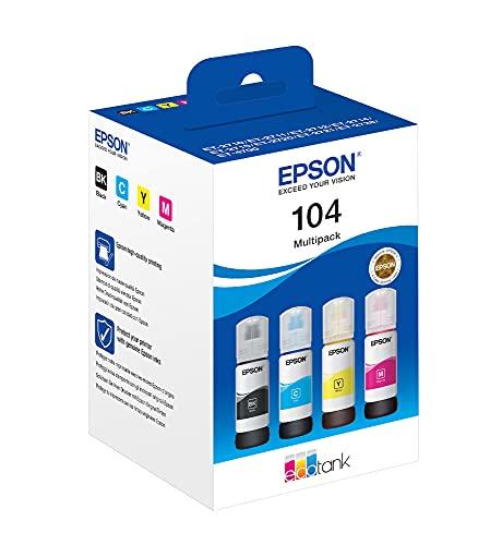 Epson 104, Inchiostri originali dye a 4 colori ciano, magenta, giallo, nero Flacone da 65 ml, EcoTank 104