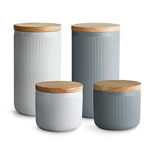 Keramik Vorratsdosen mit Holzdeckel Stripes, Luftdichter Kautschukholz-Deckel, Aufbewahrungsdosen, Frischhaltedosen - Set 4-tlg.