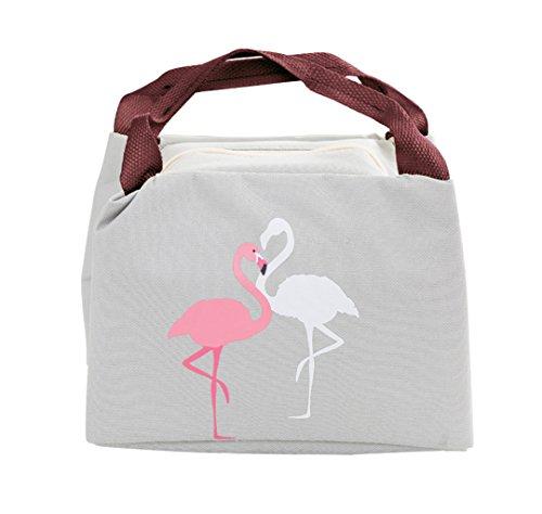 iSuperb Lunch tas waterdichte koeltas kleine picknicktas lunch tas met flamingo voor kinderen en werk 21×17×15 cm