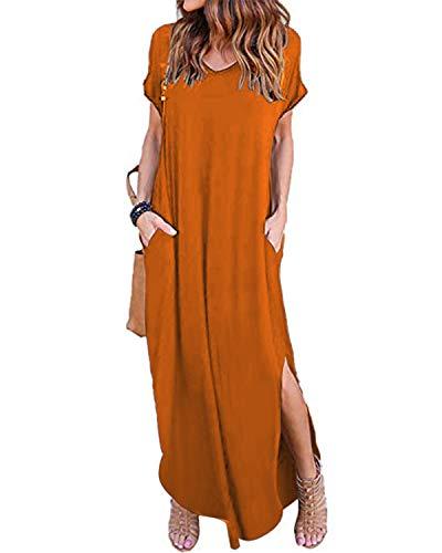 ZANZEA Maxikleider Damen Sommerkleid Kaftan Maxikleid Strandkleid Lang Damenkleider Mit Ärmel A-Orange Rot, Gr.- S