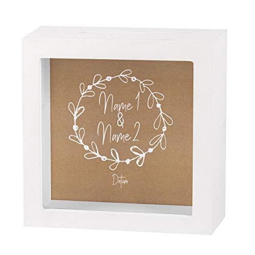Herz & Heim® Geldgeschenk zur Hochzeit als Bedruckte Bilderrahmen Spardose - individuell für Sie erstellt mit Namen und Datum Vintage Design