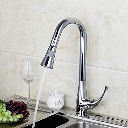 QULIN Küchenarmaturen Zwei-Funktions-Mischer Verchromte Massiv-Messing-Wasserkraft-Auslaufarmaturen Ausziehbarer Wasserhahn