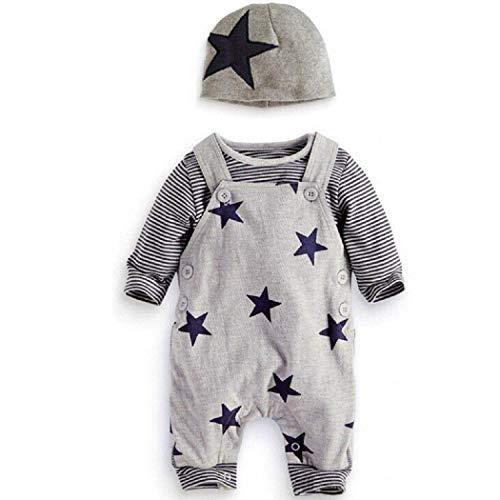 Angel ZYJ Prämie Reine Baumwolle Set Kleidung, Neugeborenes Baby Strampler Star Kleidung Sets, Hosen Tops Hut Cute Jumpsuit Outfit Body, Grau (95)