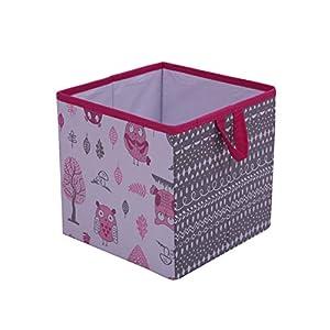 Bacati Owls Girls Cotton Storage Box Small, Pink/Grey