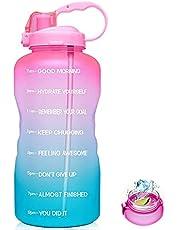 Half Gallon Motivational Water Bottle,Large Half Gallon/64oz Motivational Water Bottle With Time Marker