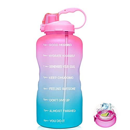 XLSM Half Gallon Motivational Water Bottle,Large Half Gallon/64oz Motivational Water Bottle with Time Marker (Pink)