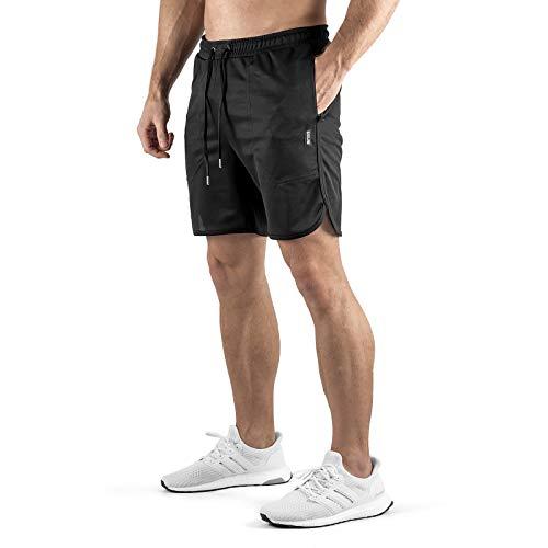 Sixlab Hybrid Tech Shorts Herren atmungsaktiv Kurze Hose Fitness Sport Gym Joggen (Schwarz, L)