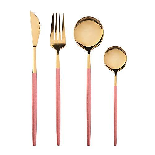 OUDEING Cuberteria Acero Inoxidable Completa Conjuntos de Cubiertos de 24 Piezas, 6 x Tenedores y 6 x Cuchillos de Cena y 6 x cucharas de Cena, 6 x cucharaditas, Fino Pulido-Rosa 24pcs