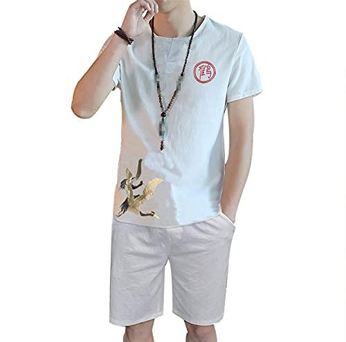 Moda de verano de lino bordado hombres conjuntos casual camisas 2 piezas conjunto pantalones cortos manga corta trajes de los hombres estilo chino