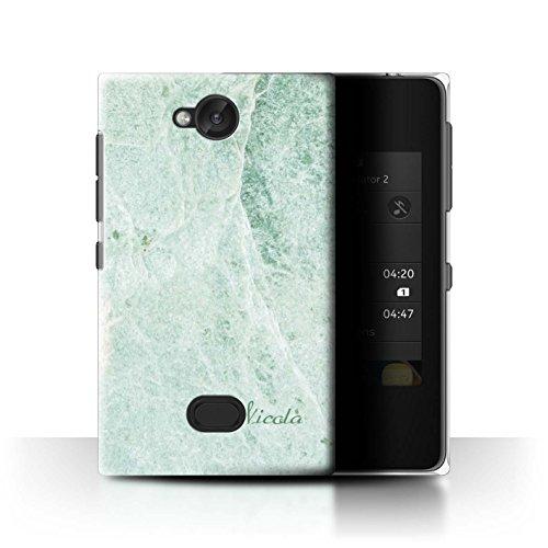 Personalizzato Marmo Custodia/Cover per Nokia Asha 503 / Firma Verde Chiaro Design / Iniziale/Nome Caso/Cassa