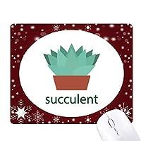 サボテンの鉢植えの緑の植物の多肉植物 オフィス用雪ゴムマウスパッド