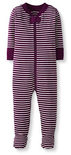 Moon and Back de Hanna Andersson - Pijama de una pieza con pies hecho de algodón orgánico para bebé, Berry, 3-6 messes (56-67 CM)