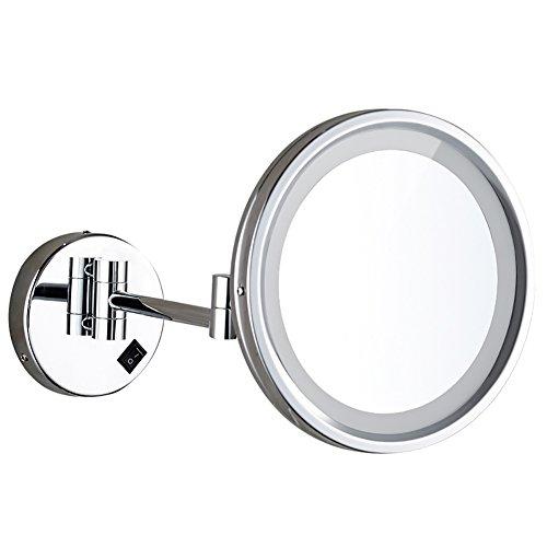 JJJJD Espejo cosmético Iluminado LED de Dos Lados - Espejo de Afeitar/Espejo de Maquillaje Masculino - Ampliación 3X + Tamaño Normal - Se Puede Girar en Todas Las direcciones - Cromado de Alto Brill