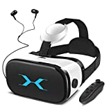 YEMENREN - Occhiali 3D VR con controller Bluetooth e cuffie, 120° FOV, HD Virtual Reality, lente anti-Blu-ray – per film e giochi 3D, adatti per smartphone da 4,0 - 6,0 pollici