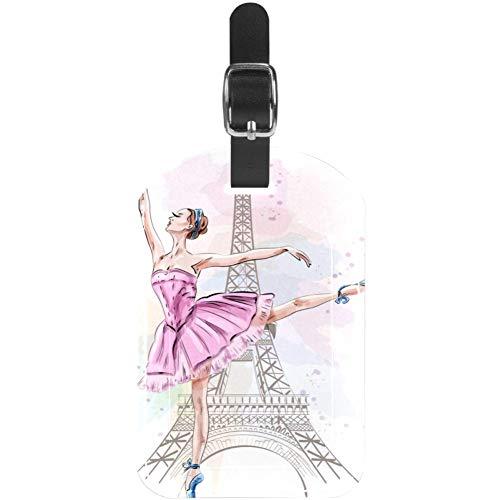 Etiquetas de equipaje para maleta de viaje con diseño de bailarina en la Torre Eiffel, 1 paquete