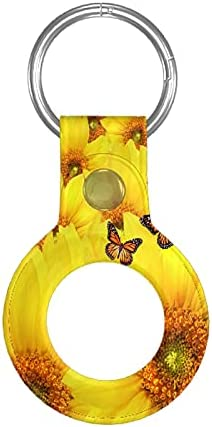 Yellow Sunflowers Apple Airtag Case Protective Air Tag Keychain with Anti-Lost Design