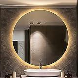Espejo Baño Iluminado con Luz Incorporada y Almohadilla Antivaho, Espejos Baño de Brillo Ajustable con Sensor Táctil...