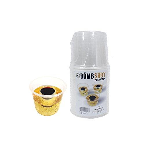 Original cup-pack von 20Bömb shots-verres Kunststoff mit 2Schälchen für mischen Ihre Cocktails, bombshot-20