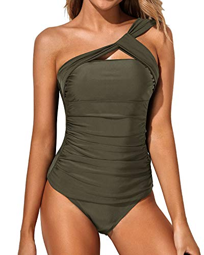 Tempt Me Women Olive Green Tankini Ruched One Shoulder Tummy Control Top with Shorts Two Piece Swimsuits L
