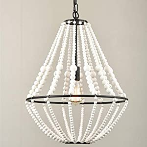 Rustic Farmhouse Wood Bead Chandelier Distressed Off-White Dining Room Chandeliers, 16.5-in