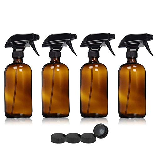 WY-YAN 4 Piezas 500 ml vidrio vacío botellas del aerosol de la botella de agua del disparador Pulverizadores atomizador de aceite dispensador de contenedores de color marrón