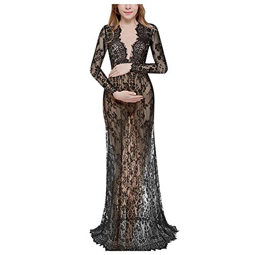 NISOWE Fotografía de maternidad, embarazadas, encaje, manga larga, sexy, cuello en V, vestido de noche, Negro , L