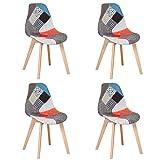 BenyLed Set di 4 Sedie da Pranzo Sedie Patchwork Colorate con Gambe in Legno Poltrona Scandinava per Cucina, Soggiorno, Bar, ECC, (Rosso)