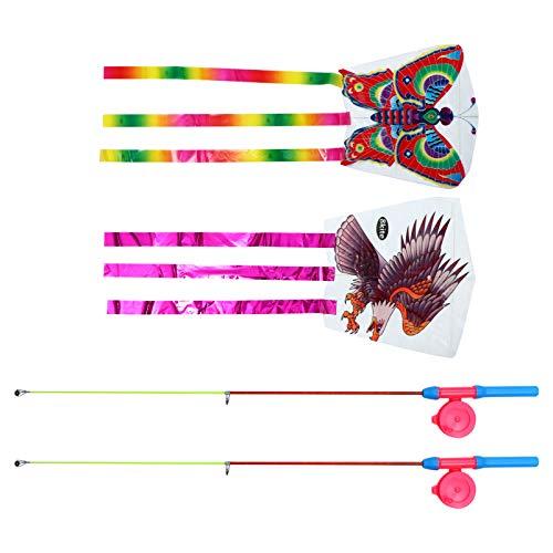 CLISPEED 2 Juegos para Niños Cometa de Dibujos Animados Pez Águila Animal Cola Larga Fácil Flyer Cometas Colorida Caña de Pescar Cumpleaños Verano Fiesta en La Playa Favor Jardín Patio