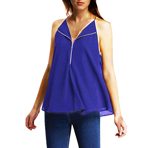 Giulot Damen Klassisches Halfter Schulterfrei Tunika Shirt Sexy Swing Kleid T-Shirt für Club Cutout Keyhole Back Tank Top - Blau - Groß