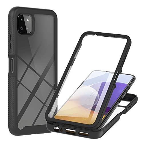 Samsung Galaxy A22 5G Hülle Samsung Galaxy A22 5G Schutzhülle, 360 Grad R&umschutz Cover mit Eingebautem Bildschirmschutz, Robust Bumper Hülle Transparent Handyhülle für Samsung Galaxy A22 5G Schwarz