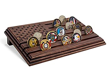 TESLYAR 6 Rows Military Challenge Coins Stand Holder Display Rack Wooden Army Collectible Challenge Coin Display Case Wood Stand Holds 30-36 Coins Natural Solid Wood Brown American Flag  Brown
