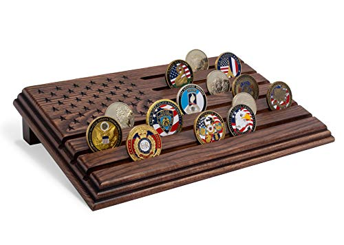 TESLYAR 6 Rows Military Challenge Coins Stand Holder Display Rack Wooden Army Collectible Challenge Coin Display Case Wood Stand, Holds 30-36 Coins Natural Solid Wood Brown American Flag