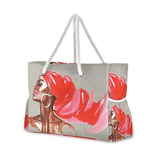 Bolsas de playa grandes Totes Bolsa de lona Bolsa de hombro Mujer Afroamericana Watercolo Pintura Resistente al Agua Bolsas para Gimnasio Viajes Diarios