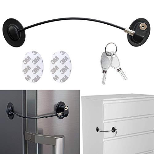 Sicherung für Kühlschrank, Schublade & Tür, abschließbares Klebeschloss, zwei Schlüssel, Kindersicherung zum Kleben, stabiles Drahtseil, Rückstands-los entfernbar, für Haushalt, Praxis, Büro, schwarz