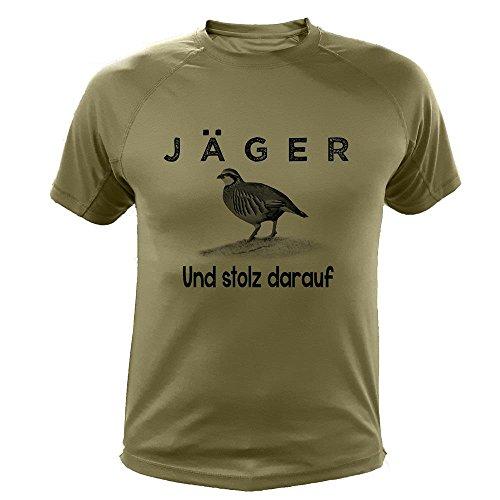 Jagd T Shirt, Jäger und stolz darauf, Rebhühner rot (20229, grün, 9a)