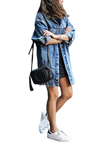 Minetom Frauen Basic Mäntel Frühling Damen Lange Jeansjacke Vintage Lässig Langarm Löcher Denim Übergangsjacke Outwear L Blau 48