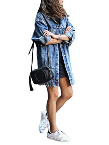 Minetom Donna Giacca in Jeans Elegante Manica Lunga Denim Giubbino Casual Slim Fit Bottone Tasche Cappotto Lungo Blu 50