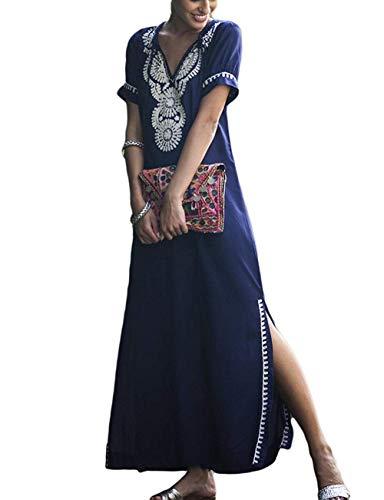 Orshoy Damen Sommerkleider Boho Strandkleid Lange Bikini Cover Ups Leichte Kleid Strandponcho Sommer Baumwolle Blumenstickerei Tunika Strand Umhang Bikini Bedecken Swimwear Blau