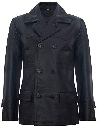 Infinity Leather Herren Schwarz German Marine Dr Who Kuhfellleder PEA Mantel 4XL