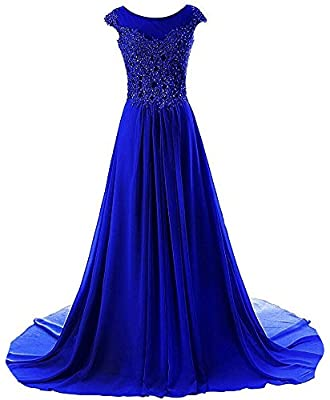 Prom Dress Long Formal Evening Gowns Lace Bridesmaid Dress Chiffon Prom Dresses Appliques Royal Blue US4