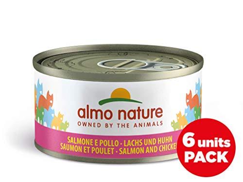 Almo Nature Megapack Salmone & Pollo -Cibo umido naturale per gatti adulti (6 x 70gr-lattina)