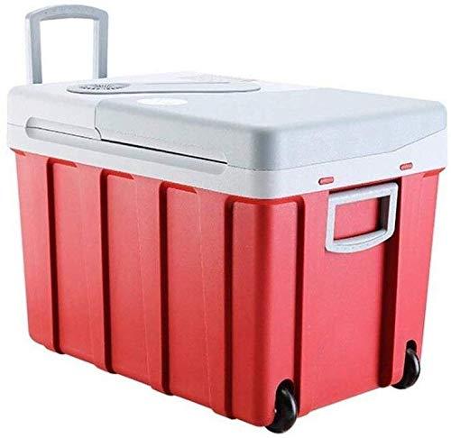 Koelbox op wielen, auto-koelruimte, 40 liter, 12 V, 240 V, draagbare elektrische koelbox, hoge vriezer, koelkast met vriesvak met automatische vergrendeling handgreep, perfect voor op reis en op de camping
