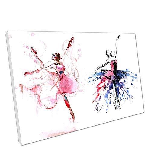 nobrand Druck auf Leinwand Aquarell Paar Ballerinas Tanzende Mädchen Wandkunst Bild Wohnzimmer Wohnkultur Gemälde 50x70cm (19.7x27.6 inch) Kein Rahmen