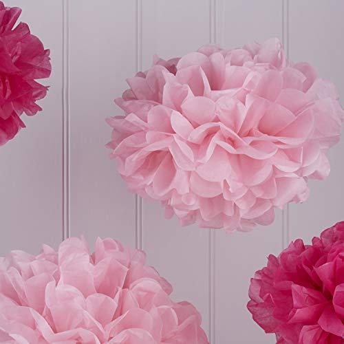 Ginger Ray VL-240 Tissue Paper Poms Decoration Lot de 5, Bébé/Rose Vif