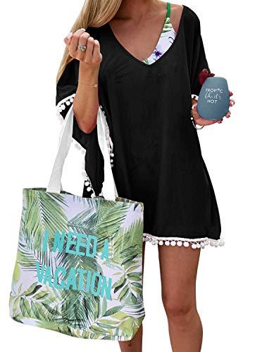 PINKMSTYLE Women's Chiffon Pom Pom Kaftan Swimwear Bathing Suit Beach Cover Up Black Free Size