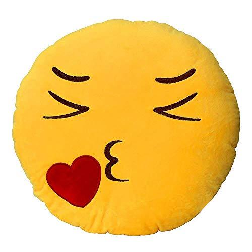 Mattelsen Almohadas Emojis, Cojín Almohada Redonda Emoji Emoticono Sonriente Amarillo Peluche Felpa Almohadilla Pillow de Juguete Suave para Niños Niñas y Adult (30cm) (B)